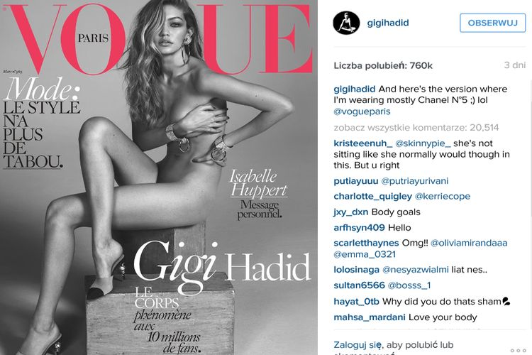 Okładka Vogue z Gigi Hadid podbija Internet