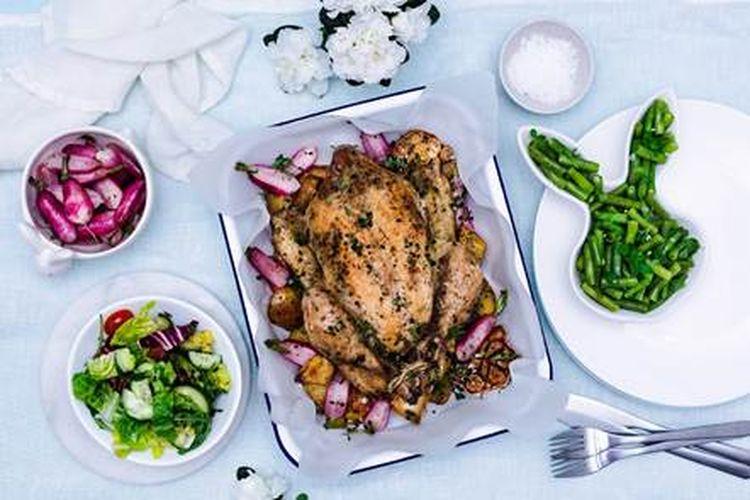 Pieczony Kurczak Zagrodowy z wiosennymi warzywami