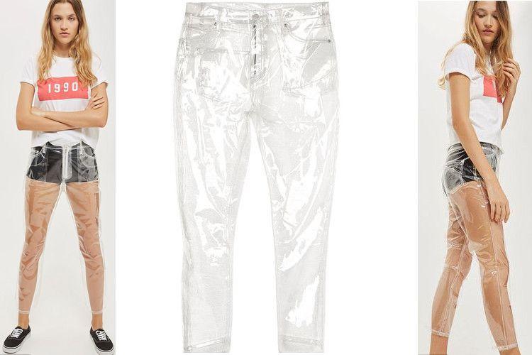 Plastikowe jeansy od Top Shop