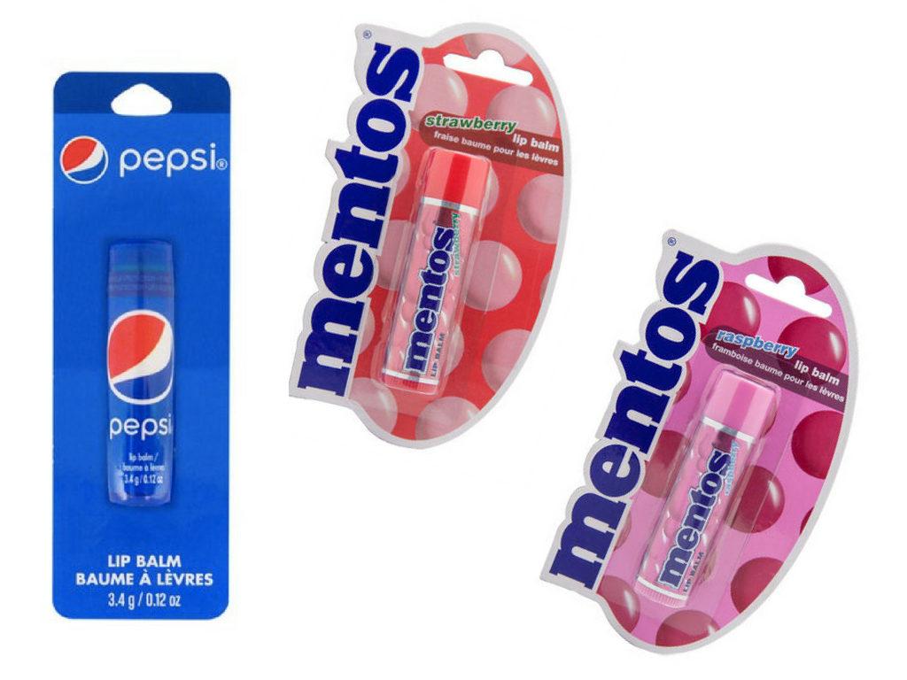 Pomadki do ust o smaku Pepsi i Mentosów