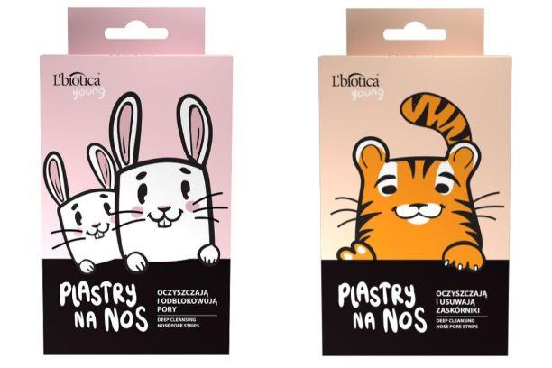 Plasterki oczyszczające na nos L'biotica Young z wizerunkiem tygrysa i królika